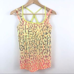 Zella Neon Leopard Workout Fitness Tank Top Small